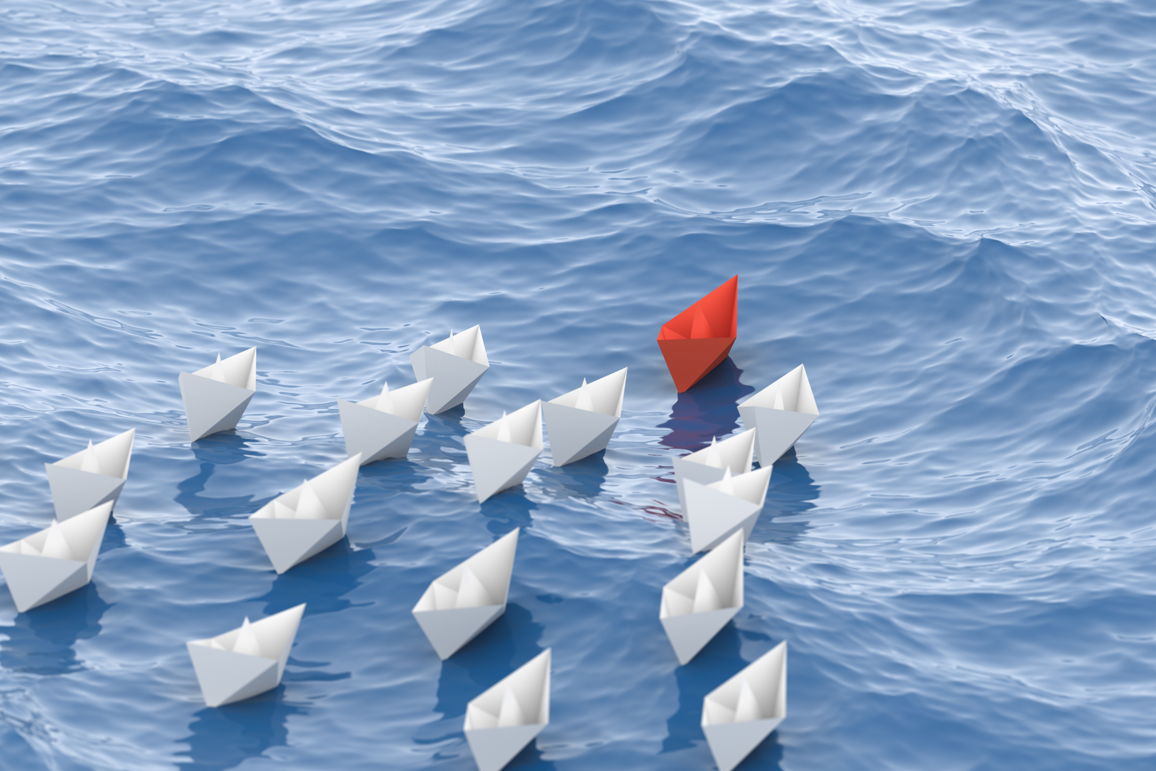 Leadership, red leader boat leading whites, in the waves of the sea. 3D Rendering.